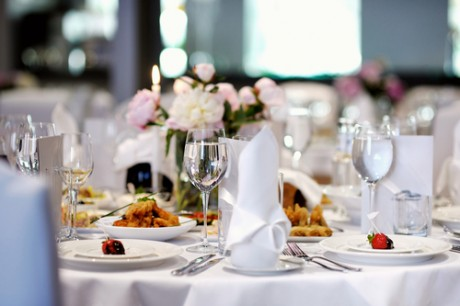 wait staff providing table setup and meal service for wedding in toronto