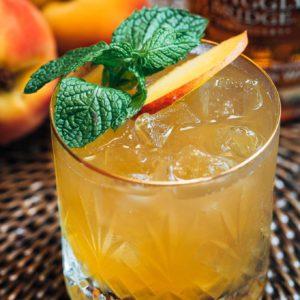 Bourbon Peach Smash With Peach Syrup